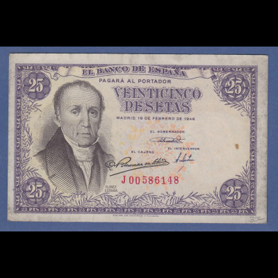 Banknote Spanien 25 Pesetas, 1946