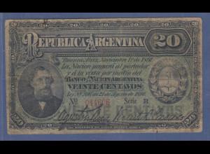 Banknote Argentinien 20 Pesos 1891