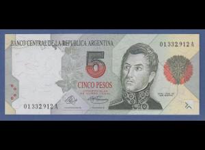 Banknote Argentinien 5 Pesos, General Jose de San Martin