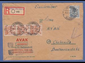SBZ Bezirkshandstempel Bezirk 27 Wermsdorf 4 Werte auf R-Brief nach Chemnitz