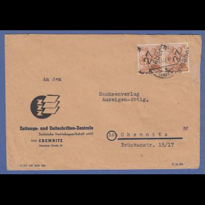 SBZ Bezirkshandstempel Bezirk 27 Annaberg 2x24 Pfg MEF auf Brief nach Chemnitz