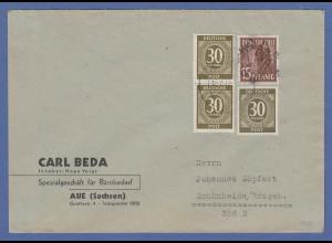 SBZ Bezirkshandstempel Bezirk 27 Aue 15Pfg-Wert auf Brief Währungsreform-MIF
