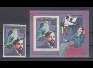Madagascar 1988 Komponist Claude Debussy Einzelmarke und Blockausgabe **