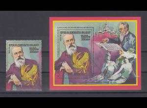 Madagascar 1988 Komponist Nicolai Rimsky-Korssakow Einzelmarke und Blockausgabe
