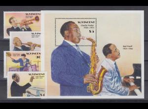 St. Vincent Jazzmusiker Satz 4 Werte und Blockausgabe **