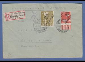 SBZ Bezirkshandstempel Bezirk 20 Weißenfels 1 Mark u. 8Pfg auf R-Brief Gerbstedt
