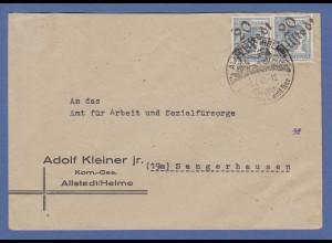SBZ Bezirkshandstempel Bezirk 20 Allstedt Mi.-Nr. 170 IV 2 Werte auf Brief