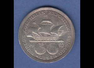 USA 1893 Silber-Gedenkmünze Kolumbus-Ausstellung / World's Columbian Exposition