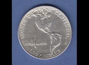 USA 1923 Silber-Gedenkmünze 100 Jahre Monroe-Doktrin, Monroe / Adams, Allegorie