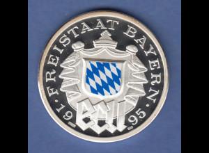 Bayern Farb-ECU Silbermedaille blau coloriert, Staatswappen, König Ludwig II. PP