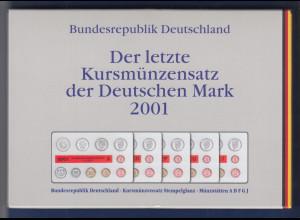 DM-Kursmünzensätze letztes Jahr der Deutschen Mark 2001 ADFGJ kpl. in MDM-Folder