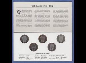 Bundesrepublik 2DM Kursmünzen Willy Brandt Erstausgabe 1994 kpl. Satz ADFGJ