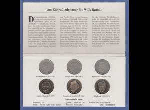 Bundesrepublik 2DM Kursmünzen alle 6 verschiedenen Ausgaben kpl.
