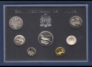 Malta Proof Coin Set 1986. Malta Kursmünzensatz in Polierter Platte (PP)