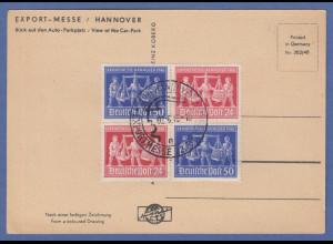 Alliierte Besetzung Hannover-Messe Viererblock auf Karte, Sonder-O 2.6.48