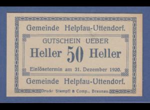 Banknote Österreich Gutschein über 50 Heller Gemeinde Helpfau-Uttendorf, 1920