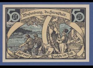 Banknote Notgeld Stadt Wesenburg 50 Pfennig 1921