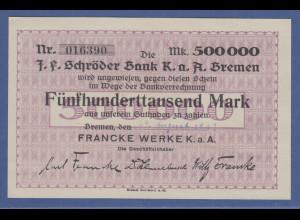 Banknote zur Verrechnung Schröder Bank Bremen 500000 Mark Francke Werke 1922