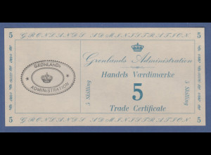 Banknote Grönland Administration Handels Vaerdimaerke 5 Skilling kassenfrisch !