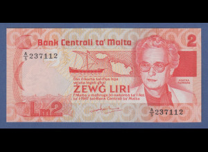 Banknote Malta 2 Liri Agatha Barbara kfr.