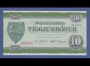Banknote Dänemark Färoer 10 Kronur
