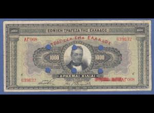 Banknote Griechenland 1000 Drachmen 1926, 6-fach gelocht
