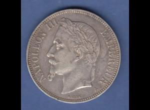 Münze Frankreich 5 Francs silber 1870 A Napoleon III. (1852-1870) sehr schön