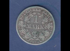 Deutsches Kaiserreich Silberne Kursmünze 1 Mark A 1874 m. Patina