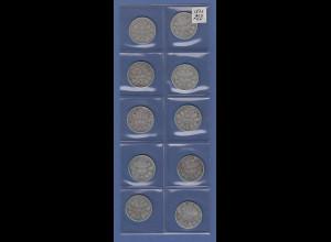 Deutsches Kaiserreich Lot 10 Silber-Kursmünzen 1 Mark 1875 und 1876