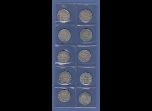Deutsches Kaiserreich Lot 10 Silber-Kursmünzen 1 Mark alle Jahrgang 1875