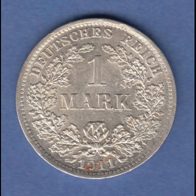 Deutsches Kaiserreich Silber-Kursmünze 1 Mark D 1911 SELTEN !