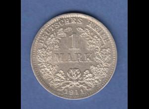 Deutsches Kaiserreich Silber-Kursmünze 1 Mark D 1911 SELTEN ! vz !
