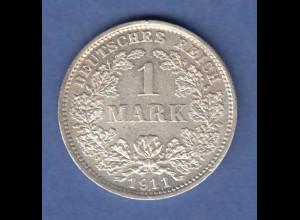 Deutsches Kaiserreich Silber-Kursmünze 1 Mark D 1911 SELTEN ! Aufl. nur 126000