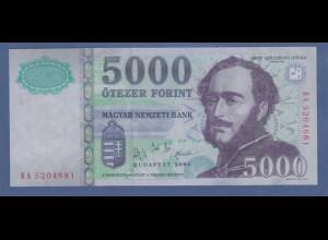 Banknote Ungarn 5000 Forint Graf Szechenyi Istvan 2005 # BA5204681 kfr.