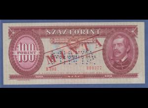Banknote Ungarn 100 Forint 1969 gelocht, mit Aufdruck MINTA