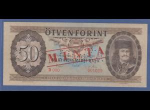 Banknote Ungarn 50 Forint 1969 gelocht, mit Aufdruck MINTA