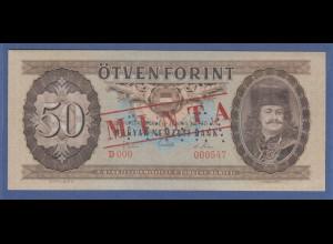 Banknote Ungarn 50 Forint 1969 gelocht mit Aufdruck MINTA