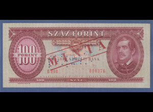 Banknote Ungarn 100 Forint 1989 gelocht mit Aufdruck MINTA