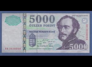 Banknote Ungarn 5000 Forint 1999 # BD 3030098 kfr.