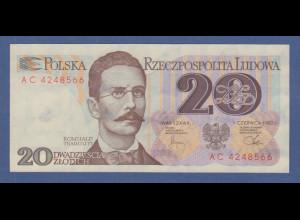 Banknote Polen 1982 20 Zloty Romuald Traugutt