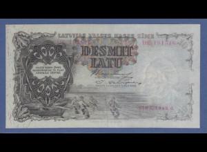 Banknote Lettland 10 Latu Fischerboot und Fischer, Riga 1940