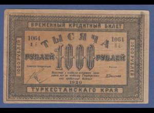 Banknote Turkestan 1000 Rubel 1920