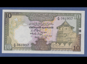 Banknote Sri Lanka / Ceylon 10 Rupien 1985