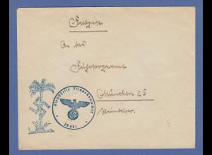 Dt. Feldpost Nordafrika Afrikakorps Feldpostbrief mit blauem Palmenstempel !