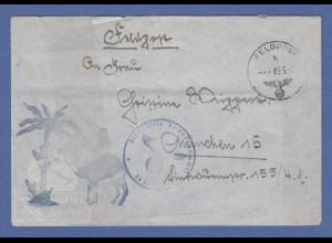 Dt. Feldpost Nordafrika Afrikakorps 1942 Feldpostbrief mit Kamel-Palmenstempel
