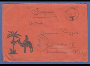 Dt. Feldpost Nordafrika 1942 orangener Feldpostbrief mit Kamel-Palmenstempel !