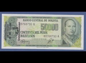 Banknote Bolivien 50000 Pesos mit Aufdruck un centavo de boliviano 1984