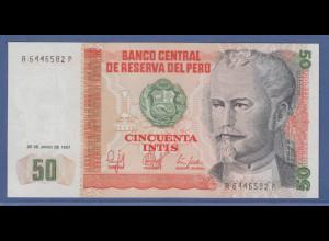 Banknote Peru 50 Intis Nicolas de Pierola 1987