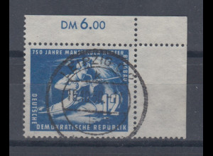 DDR 1950 Mansfelder Bergbau Mi.-Nr. 273a Eckrandstück OR gestempelt gepr. BPP