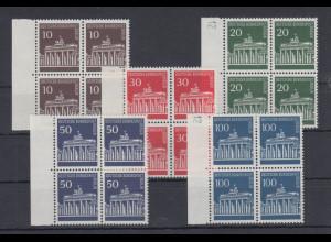 Berlin 1966 Dauermarken Brandenburger Tor Mi.-Nr. 286-290 Viererblocks **
